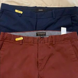 Two slim fit pants burgundy and blue 34x32.
